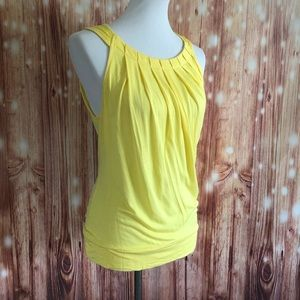New York & Co Yellow Pleated Banded Tank Top